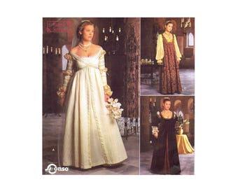 Renaissance Wedding Dress Costume Simplicity 8735 Sewing Pattern Size 10 - 12 - 14 Bust 32 1/2 - 34 - 36 UNCUT