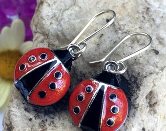 Cute little Ladybug Earrings with Handmade Sterling Silver Hooks