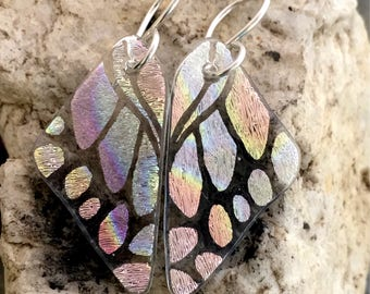 SMALL Translucent Pastel Rainbow Butterfly Earrings Hand Etched Dichroic Glass Sterling Silver