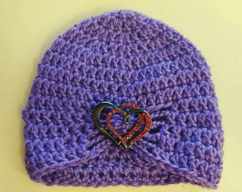Half Price & Ready to Ship! Dark Lilac colored flapper hat with brooch of your choice! Sized for a newborn