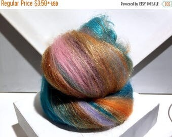 "Tour De Fleece SALE fiber art batt, wool, roving, ""90 Minutes to Taos"" spinning, felting, turquoise rust topaz copper sienna pink lavender b"