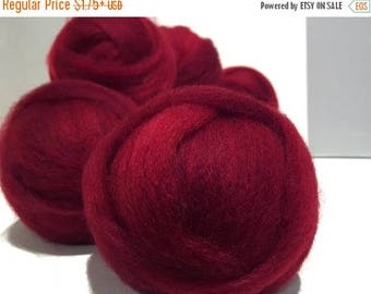 ROVING SALE Deep Red wool roving, Needle Felting Spinning wool, w/ 3 fiber samples, Christmas red, primary red, blood red blue red