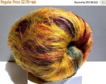 "KIT SALE gold art batt KIT, Spinning kit, fiber ""Black-eyed Susan"" Nuno Needle felting wool, Gold black brown yellow purple green topaz, ble"