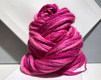 "Thick Thin Art Yarn, bulky handspun yarn ""Dianthus"" Pink, Fuchsia, bright pink Crochet Knitting weaving yarn, bulky yarn"