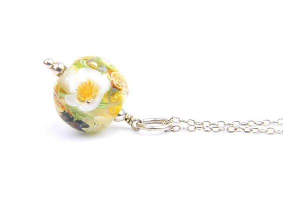 Art Glass Pendant - Medium Amber, White and Yellow Art Glass Bead Sterling Silver Pendant - Classic Collection