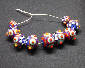 Colorful Lampwork Dotted Rounds 9 piece set