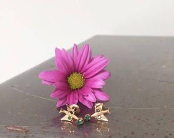 Edwardian 10K Emerald Paste Bird Swallow Earrings