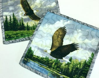 Pot Holders Eagles in Flight Hot Pads Quilted Set of Two Cabin Rustic Woodland Kitchen Cooking