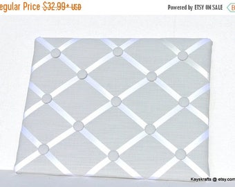 Christmas In July 30% Off Light Gray French Memo Board Memory Board, Light Gray Fabric Ribbon Memo Bulletin Board, Light Gray Fabric Ribbon