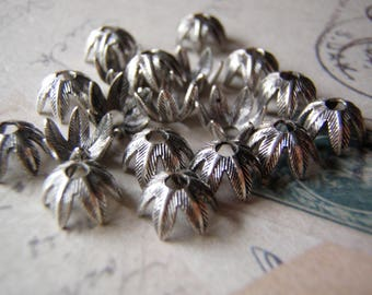 Large Bead Cap Fine Silver Plated and Oxidized 2 Pieces