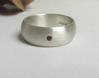 Sterling Silver 8 mm and Garnet ring for men and women - wide silver wedding ring  - rounded ring - matte silver finish, jewelry for men