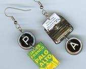 Book Cover Typewriter earrings Palo Alto