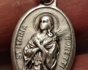 SALE TODAY Vintage St Saint Maria Goretti Religious Medal Pendant Silver Plated Marked ITALY