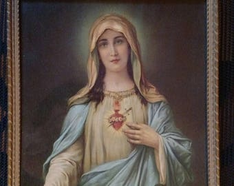 Flash Sale ORIGINAL Vintage Virgin Mary Lambert Product USA Sacred Heart Color Picture Print Wood Frame 8.5 by 11 Inches Glass