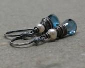 London Blue Topaz Earrings White Pearls December, June Birthstone Oxidized Sterling Silver Earrings Gift for Her