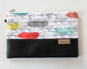 Zipper Clutch, Vegan leather, Kindle, ipad device padded sleeve, metal zip pouch, bag, Diaper wipes holder, makeup organizer Feathers, black
