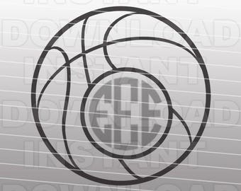 Basketball Monogram SVG File Cutting Template-Clip Art for Commercial & Personal Use-Vector Art file for Cricut,SCAL,Cameo,Sizzix,Vinyl