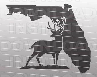 Florida Deer Hunting SVG File,Deer Hunter SVG File,Big Buck SVG-Vector Clip Art for Commercial & Personal Use-Cricut,Silhouette,Cameo,htv