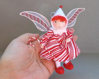 Candy Cane Pixie Art Doll Ornament