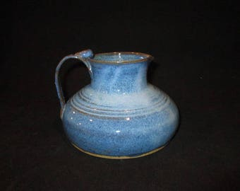 red wine pitcher in bright blues, stoneware, pottery, dishwasher safe