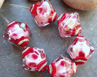 Blush - Set of 6 Crystal Bicone Beads - SRA Glass Lampwork
