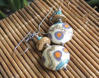 Turquoise Tribal Ivory lampwork earrings-  Lisa New Design- Ethnic Earrings Boho jewelry