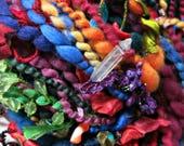 Handspun Art Yarn - Bluefaced Leicester Wool Yarn - Beaded Yarn - OOAK Yarn - Gypsy Yarn - Lady Moonlight