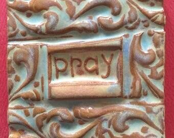 pray handmade earthenware tile by tilesmile
