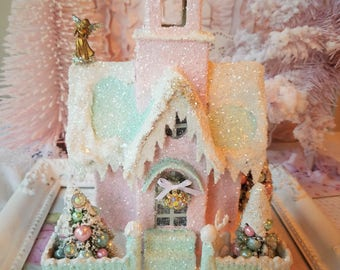 Shabby Putz House Church - Pink, Mint, Glitter