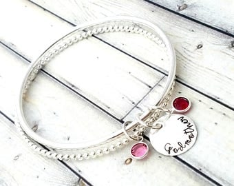 personalized bangle-personalized bracelet- stacking bangles-stacked bangle-godmother gift-godmother bracelet-bangle bracelets