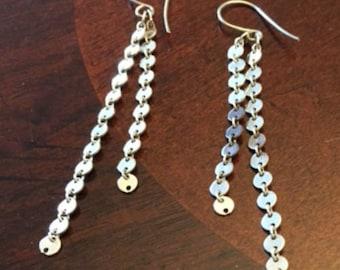 Sterling Silver Long Decorative Chain Earrings