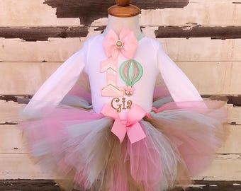 Hot Air Balloon Tutu Outfit, 1st Birthday Tutu Set, Pink Mint and Gold, Personalized Bodysuit, Sewn Tutu, Headband, Baby Girl Cake Smash Set