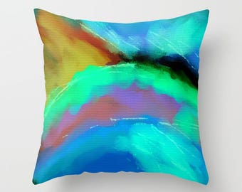 Colorful Abstract Art Throw Pillow Decorative Pillow My Colorful Abstract Digital Painting