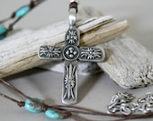Antiqued Pewter Cross and Turquoise Magnesite Unisex Necklace, Corded Cross Necklace, Masculine Necklace, Religious Necklace, Cross Pendant