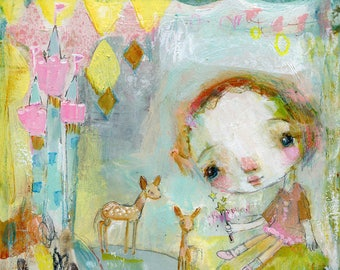 Magical Twins - mixed media art print by Mindy Lacefield