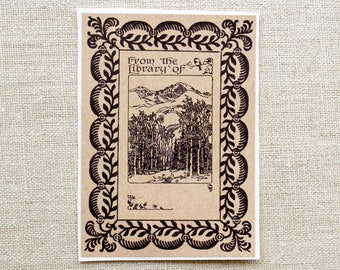 mountain forest bookplate stickers- woodland bookplates -ex libris - bookplate labels - masculine book plate - gifts for him - bookworm