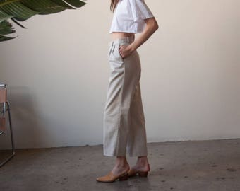 chino cropped trousers / pleated waist trousers / beige pants / m / US 10 / 30 W / 2700t / B10