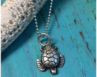 Antiqued Mini Sterling Silver Turtle on a Delicate Sterling Bead Chain