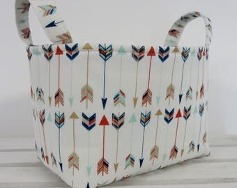 READY TO SHIP - Storage and Organization  - Multi Color Arrows on White - Tribal Navajo - Fabric Organizer Bin Storage Container Basket