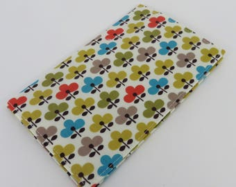 Checkbook Cover Case Cheque Coupons Money Holder - Michael Miller Mod Flowers Ellie Fabric