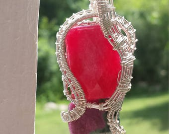 custom elegant heady wire wrapped crystal/gem/stone/fossil necklace pendant