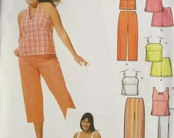 60% OFF SALE Childs Sewing Pattern Simplicity 5013 Juniors Plus Cropped Pants or Shorts & Tops Pattern Size 23/24-31/32 Uncut