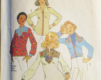 30% OFF SALE 1970s Sewing Pattern Simplicity 7143 Misses Shirt Pattern Size 12 Bust 34