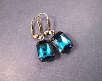 Rhinestone Earrings, Deep Blue Glass Rhinestone and Brass Dangle Earrings, FREE Shipping U.S.