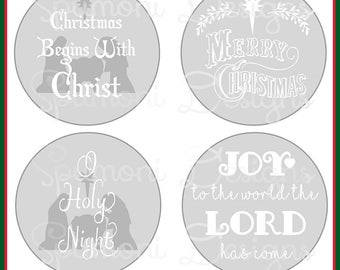 Set of Christmas Christian Religious SVG Cut Files for Ornaments, Candle Holders Cricut Silhouette cut file Nativity, O Holy Night, Joy, Art
