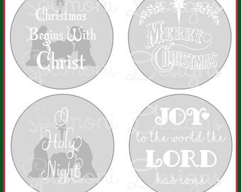 Set 1 of Christmas Christian Religious SVG Cut Files for Ornaments, Candle Holders Cricut Silhouette Nativity O Holy Night cut file  Joy Art