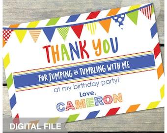 "Jump Tumble Play Birthday Party Gymnastics - Blue - Thank You - 4"" x 6"" - DIGITAL Printable"