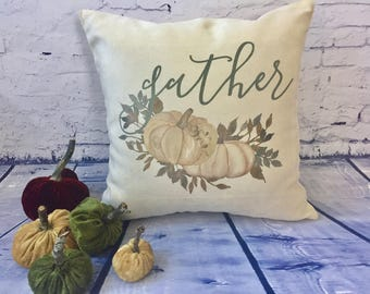 pumpkin decorative throw pillow cover, fall throw pillow, autumn decor, thanksgiving pillow, gather pillow cover, housewarming gift