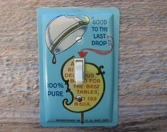 Green Kitchen Decor Light Switch Plate Cover Switchplate Made From An Old Maxwell House Coffee Tin Single Toggle SP-0067