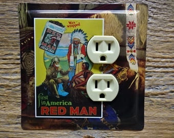 Southwestern Decor Decorative Outlet Cover Covers Light Switch Made From An Old Red Man Tobacco Tin For Country Home Rustic Cabin OLC-1040